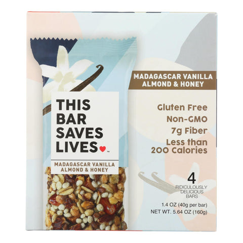 This Bar Saves Lives - Bar Madagascar Vanilla Almond And Honey 4 Pack - Case Of 8 - 5.64 Oz.