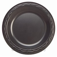"6"" Laminated Black Foam Plate (1000/Case)-Genpak-T-Ray Specialties"