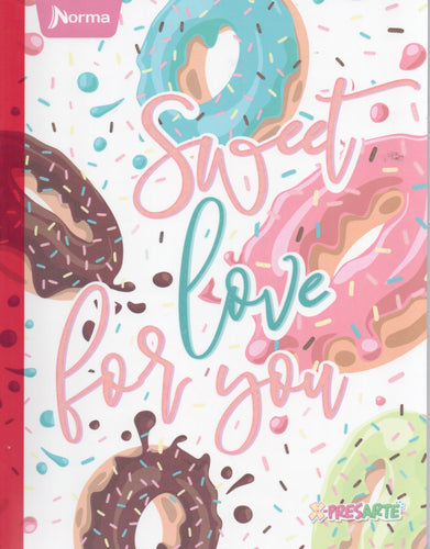 Cuaderno cosido rayado Sweet love for you Norma niña 50 hojas
