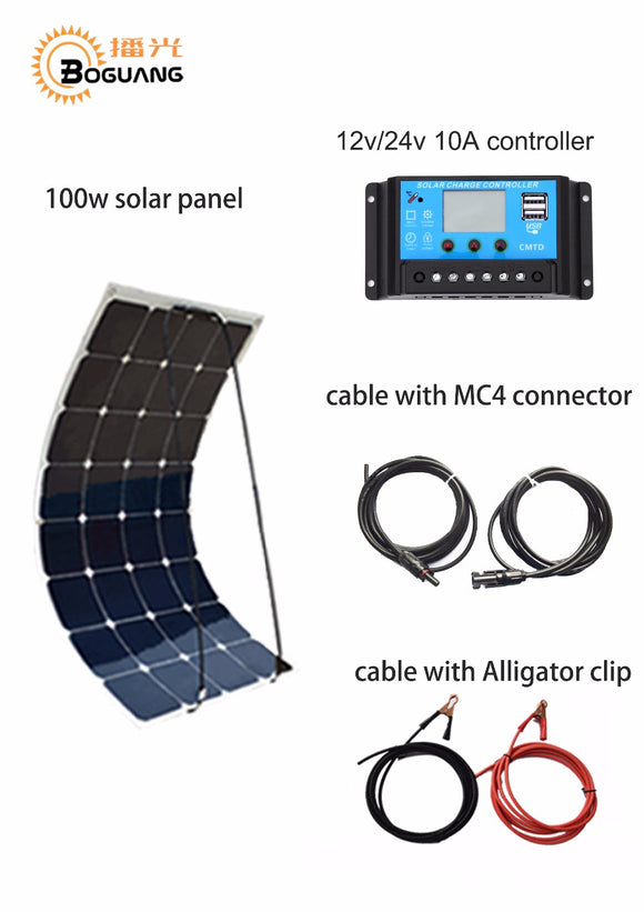 Flexible Solar Panel 1 x100W PV  12V, 1 x 20A solar controller, and BONUS 1 set 3M MC4 cable .