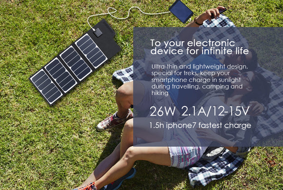 ELEGEEK 26W Portable SUNPOWER Solar Panel Charger USB+DC Dual Output Foldable Solar Panel