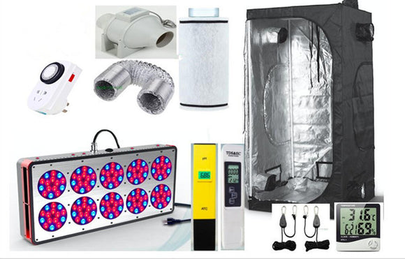 Complete Grow Tent Indoor Hydroponic 120x120X200cm HPS Apollo 12 LED Grow Light 270W Greenhouse Garden Grow Kit Set-up System