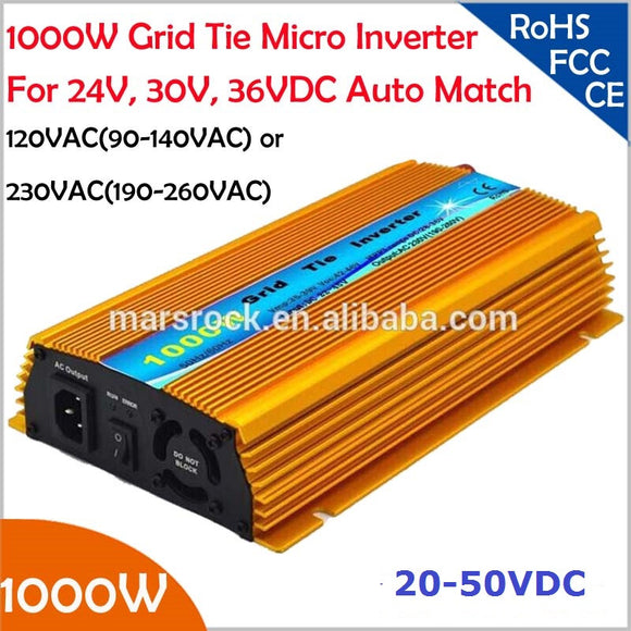 1000W Grid tie micro inverter, 20V-50VDC,  90V-140V or 190V-260VAC, workable for 1200W, 24V, 30V, 36V solar panel or wind system