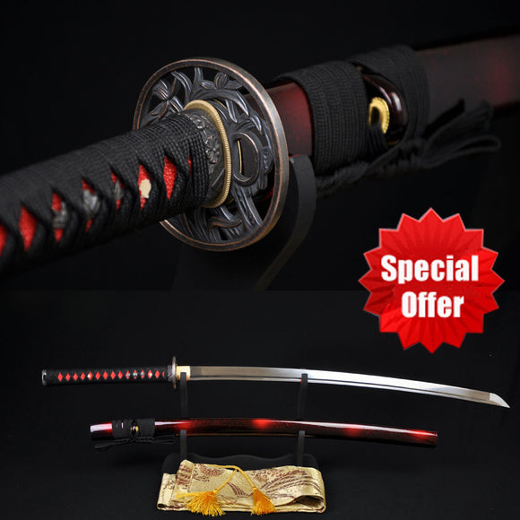 15% off Handmade Japanese Samurai Katana Sword 1060 High Carbon Steel Full tang Blade Sharp - Custom Real Espadas Katanas Battle Ready