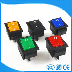 LASER: Latching Rocker Switch Power Switch I/O 4 Pins With Light 16A 250VAC 20A 125VAC KCD4