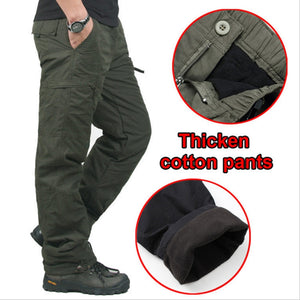Winter Double Layer Men's Cargo Pants Warm Thick Baggy Pants Cotton Trousers For Men Male Military Camouflage Tactical