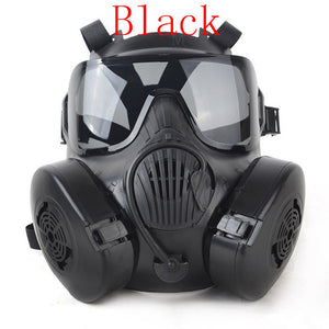 M50 High Quality Mask Tactical Wargame Paintball Full Face Skull Gas Mask with Fan 22.5*17.5cm - Black/Army Green