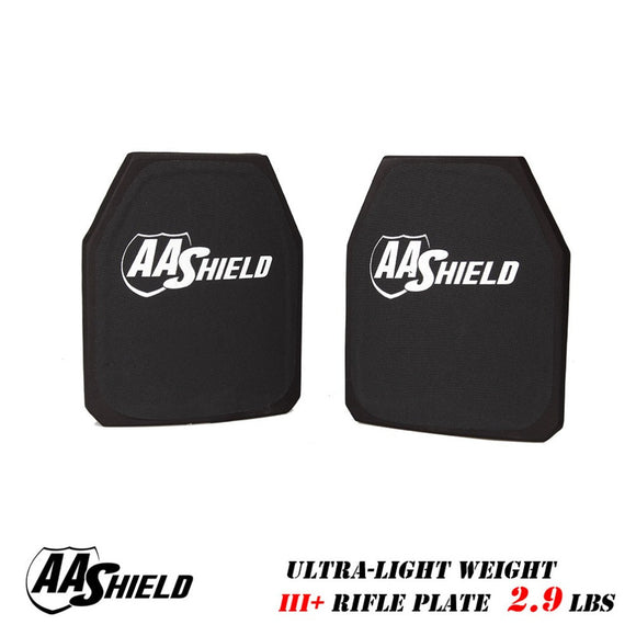 AA Shield III Rifle Plate Ultra Light Weight BulletProof Body Armor 9.5X11.5 Pair