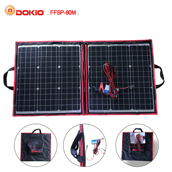 Dokio 50W 60W 70W 80W (40x2Pcs) 18V Flexible Black Solar Panels China Foldable + 12/24V Volt Controller Watt Panels Solar
