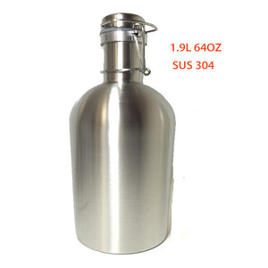 Brew Lover 2L 64 Oz food grade 304 stainless steel beer bottle, Swing Top Beer Growler, home brewery growler wholesale product