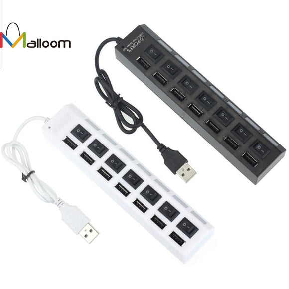 New 7 Ports LED USB 2.0 Adapter Hub Power on/off Switch For PC Laptop Free Shipping