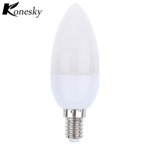 Konesky E14 2835 SMD led candle light bulb lamp Warm/ Cool White Led Spotlight Chandelier led plastic shell
