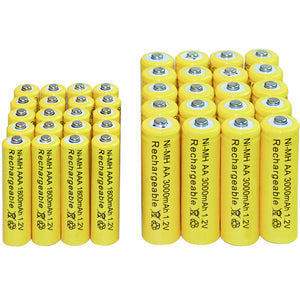 20 pcs AA 3000mAh 20 pcs AAA 1800mAh Ni-MH Rechargeable Batteries yellow cell Free shipping