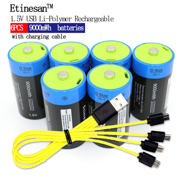 6 Pack Rechargeable D Batteries Micro USB with Cord