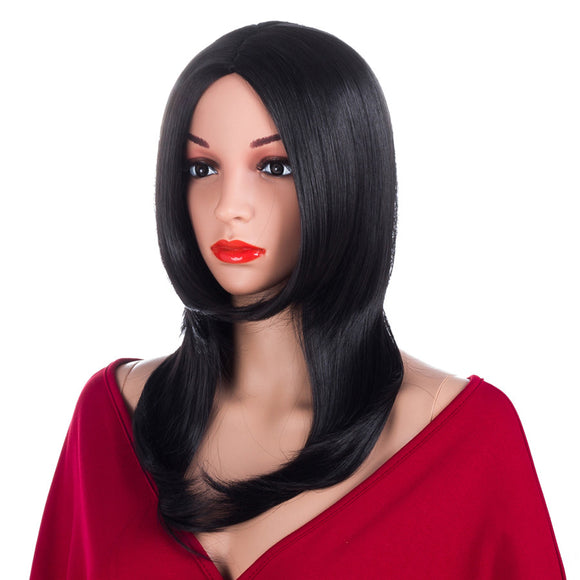 ELEGANT MUSES Straight Wig Synthetic Hair For Women Kanekalon Natural Black 14