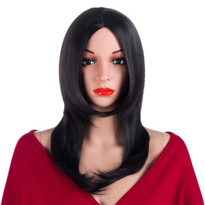 "ELEGANT MUSES Straight Wig Synthetic Hair For Women Kanekalon Natural Black 14"" Heat Resistant Female Fake Hair"