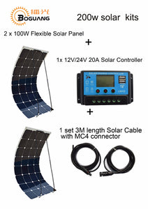 Boguang Standard Kits 200W DIY RV/Boat Kits Solar System 100W flexible solar panel+controller+cable outdoor light led module.