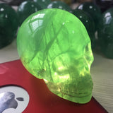 Natural Green Glowing Fluorite Crystal Skull