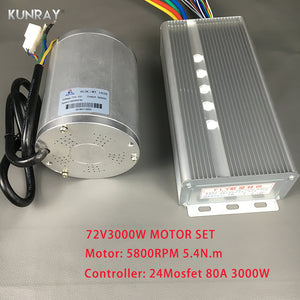 KUNRAY BLDC 72V 3000W Brushless Motor Kit With 24 Mosfet 80A Controller For Electric Scooter E bike E-Car Engine Motorcycle Part