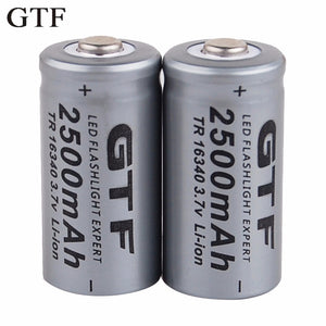 3.7V 2500mAh Lithium Li-ion CR123A 16340 Rechargeable Batteries 3.7V CR123 for Lasers, LED Flashlights, and more by GTF