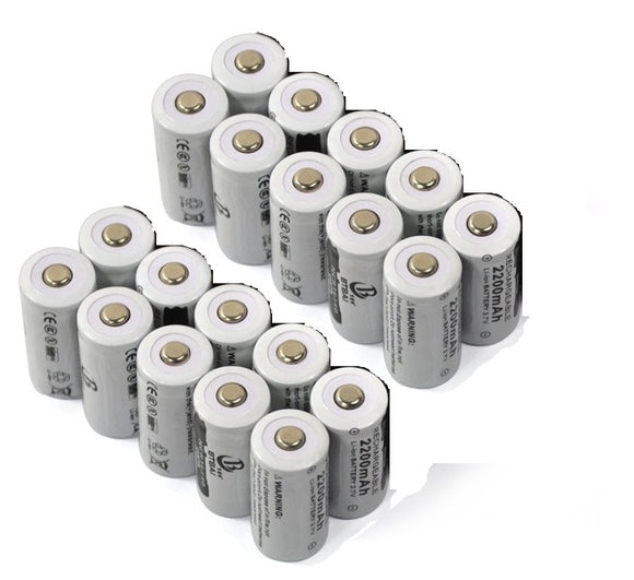20 in a pack of 3.7V 16340 rechargeable lithium-ion batteries for LED Flashlights, lasers, and more.