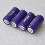 4, 6, or 10 in a pack of 16340 3.7v ICR rechargeable lithium ion cell batteries for lasers, flashlights, and more.