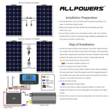 ALLPOWERS 100W 18V 12V Solar Panel Charger with Solar Controller