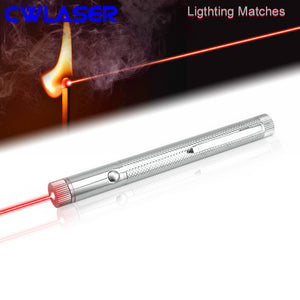 10000m High Power 650nm Focuable Red Burning Laser Pointer Compact Pen (Stainless) AAA Batteries