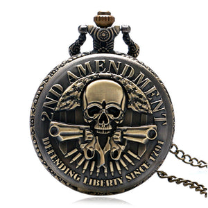 New Arrival 2ND AMENDMENT Guns Design Pocket Watch Men Vintage Pendant Watch Hot P987