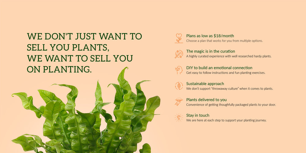 We don't just want to sell your plants. We want to sell you on planting. Plans as low as $18/month.