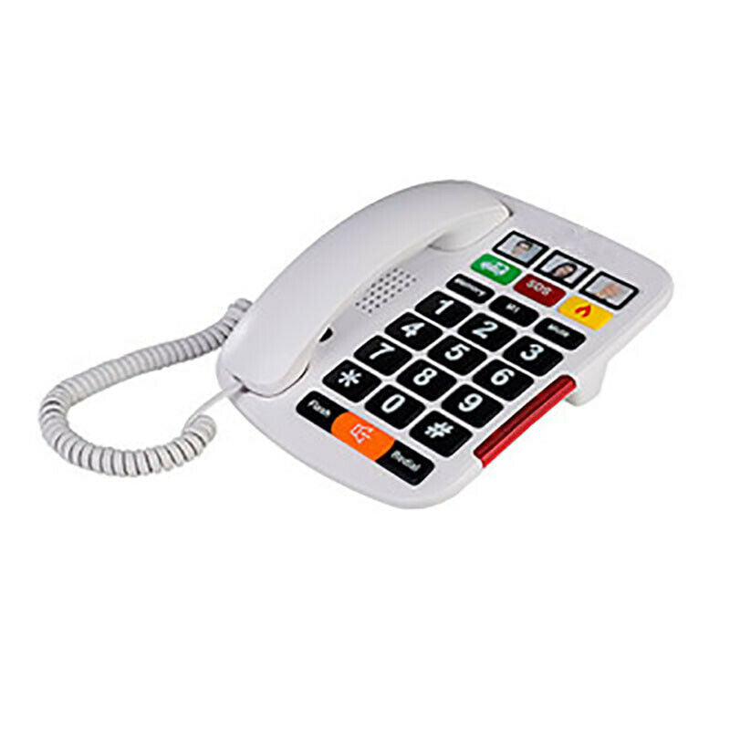 Big Button Corded Phone with 3 One-Touch Speed Dials + Headphone Compatible + Picture Phone Dialing for Seniors - Desktop - Color, White