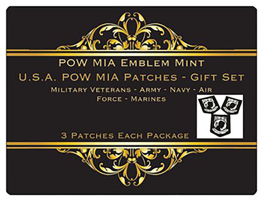 POW MIA Emblem Mint - Patriotic Gifts, USA POW MIA Patch Embroidery Design, Stocking Stuffers Christmas Gifts, 3 Patches per Set, Iron On or Sew On, Military Veterans, Army, Navy, Air Force, Marines