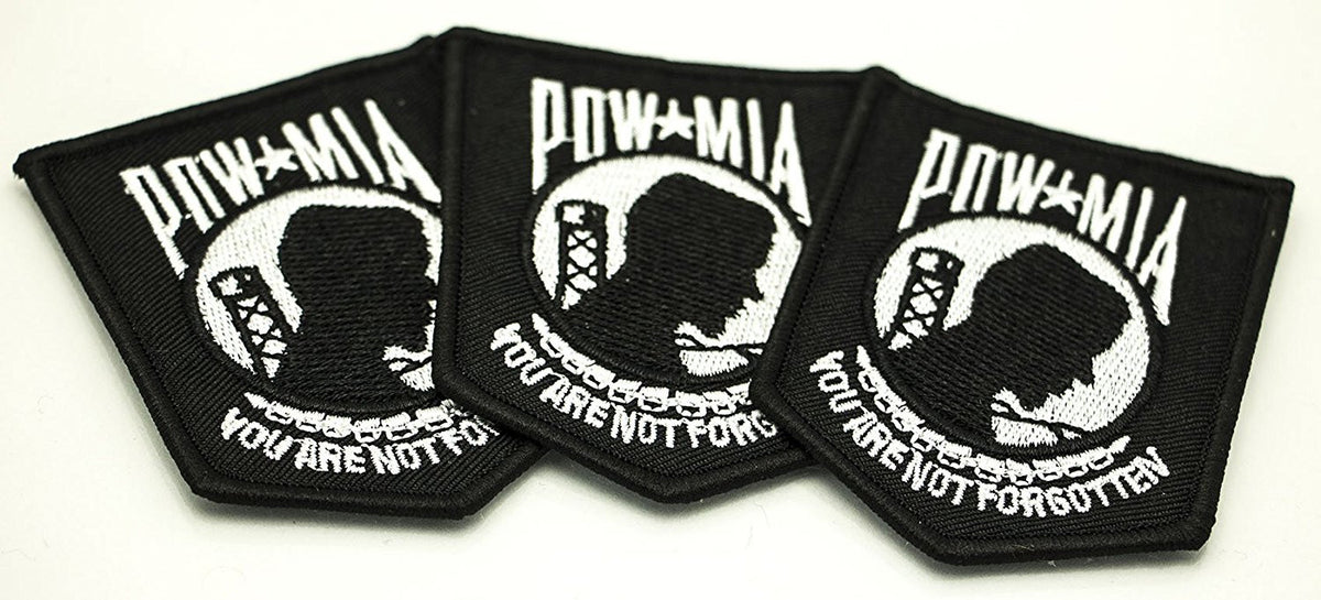 PATRIOTIC POW-MIA, (Prisoner of War - Missing in Action)... SUPPORT VETERANS, THEIR FAMILIES and FRIENDS - W/POW-MIA PATCH, 3 Patch per Set, Iron On or Sew On, Military Veterans, Army, Navy, Air Force, Marines