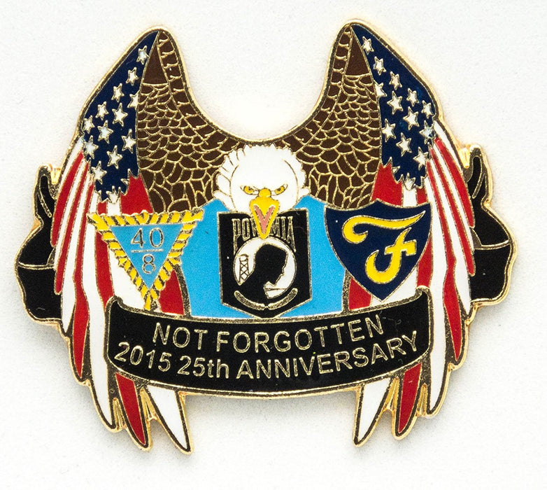POW MIA US Flags Lapel Hat Pin 25th Anniversary - Military Lapel Pin Gifts - USA Veteran - Flags Lapel Hat Pin Genuine American Eagle Lapel Pins Made To Jewelry-Like Finish - Long-Lasting Durability - Made In The USA For Military-POW MIA Emblem Mint