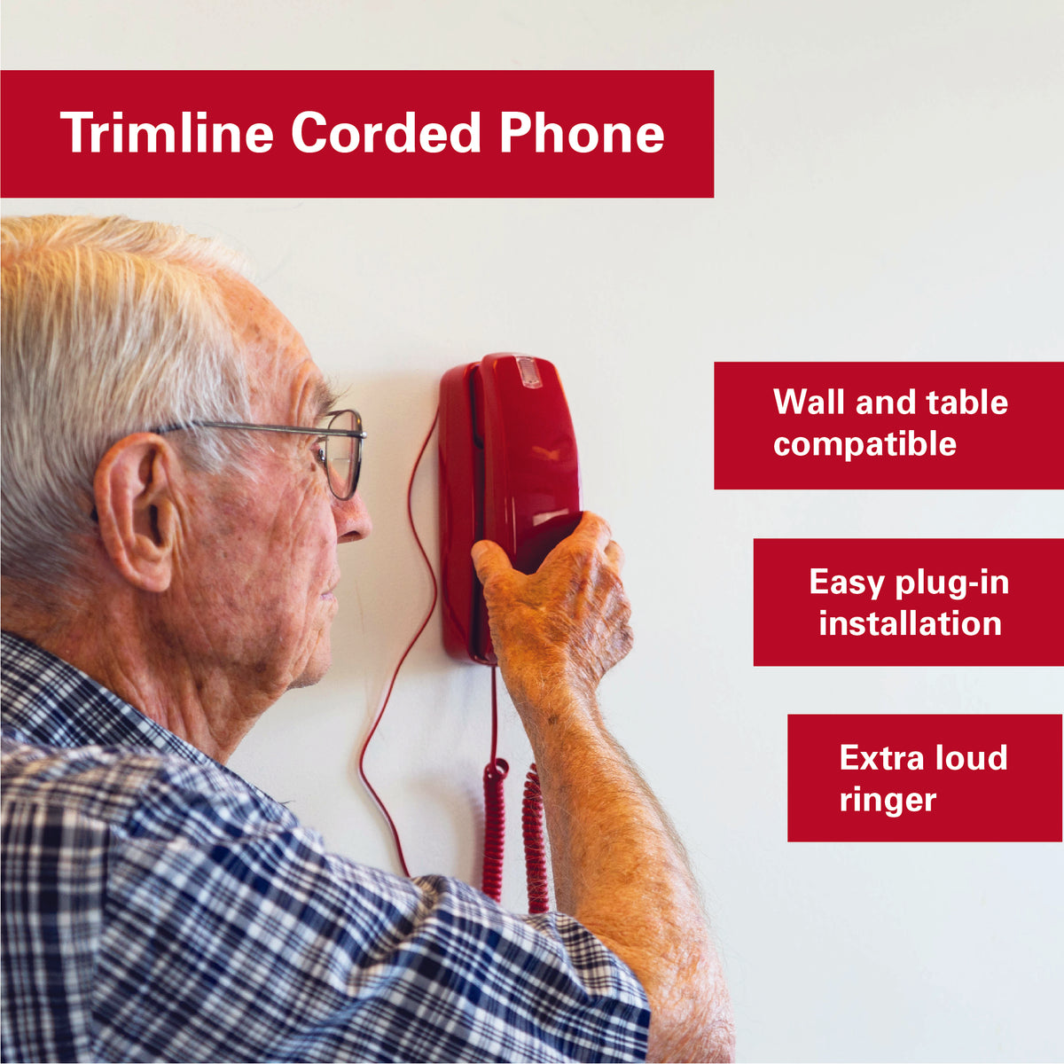 Corded Phone - Crimson Red