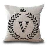 Crown Monogram Letter 43x43cm Cotton Linen Woven Throw Pillow Cushion Cover