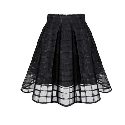 Black Block Organza High Waist Skirt
