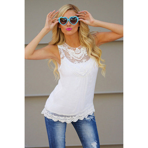 Jackie Lace Sleeveless Top (White and Pink)