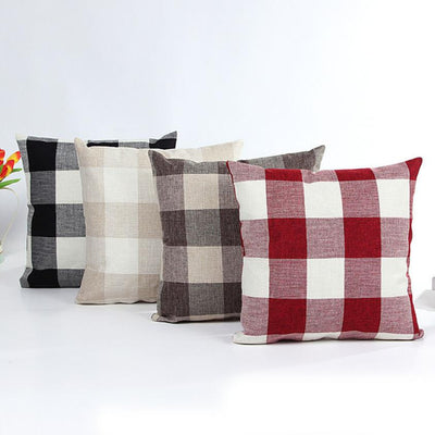 Plaid Throw Pillow Case  45cmx45cm