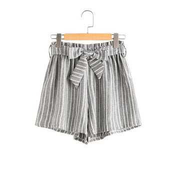 Vertical Striped Tie Front High Waisted Shorts