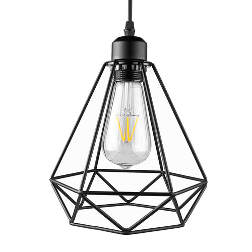 Industrial Vintage Diamond Cage Pendant Light Sconce Hanging Droplight Lamp
