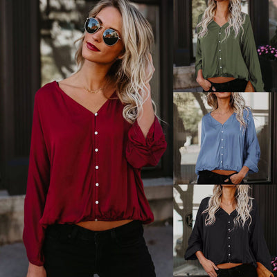 Womens Solid Long Sleeve Button Down