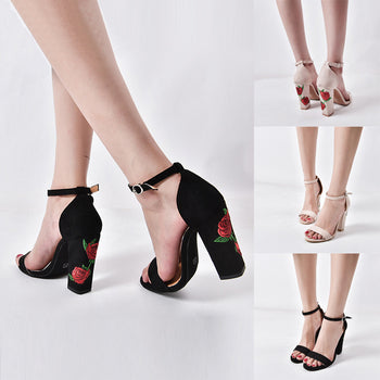 Rose Embroidery Suede Block Heel Sandal