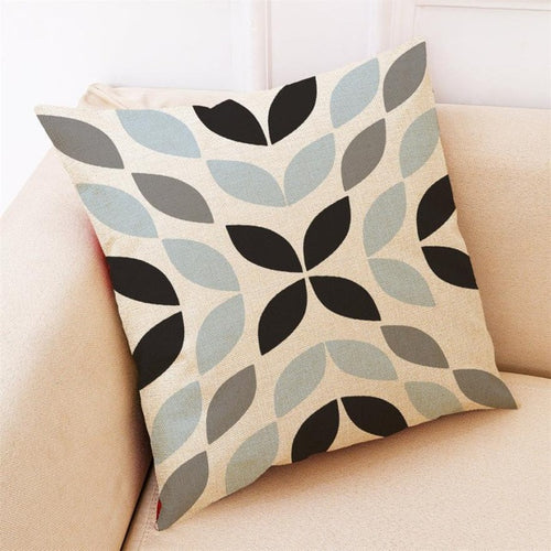Blue Grey Geometric Pillow Cases