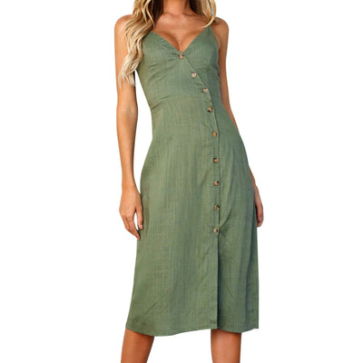 Marcela Button Down Princess Dress (Green or White)