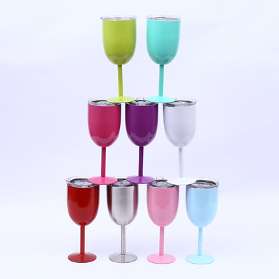 10oz Wine Glass Stainless Steel Insulated Goblet With Lid