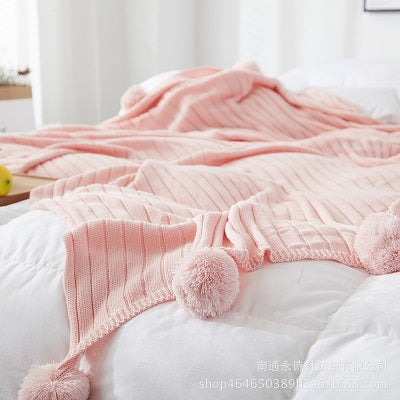 Pom Pom Crochet Thread Blanket (Multiple Colors)