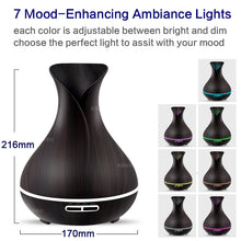 Wood Grain Oil Diffuser / Ultrasonic Air Humidifier 7 Color Changing LED Lights