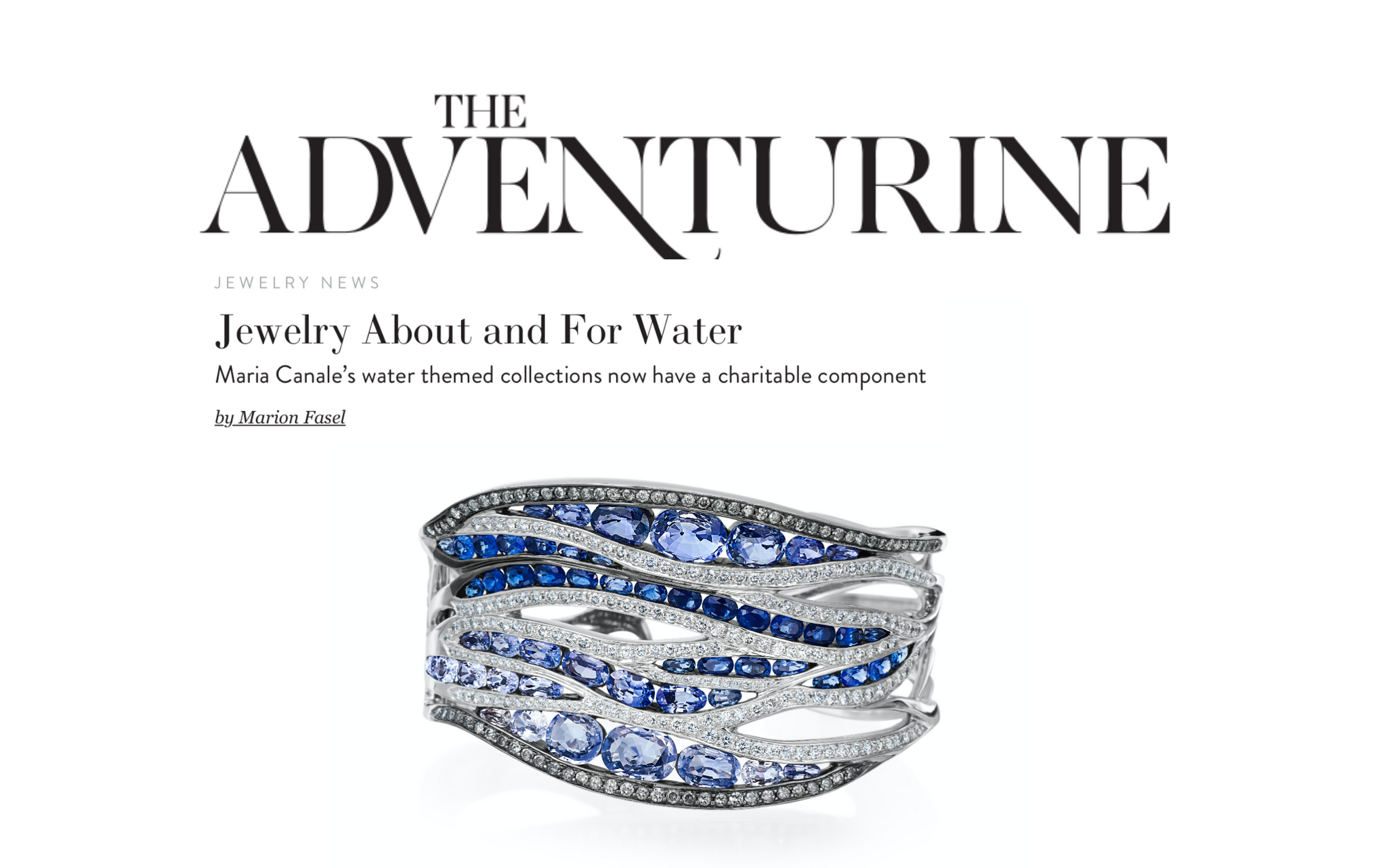 "Maria Canale's ""Every Drop Counts"" Charity Campaign on The Adventurine Magazine"