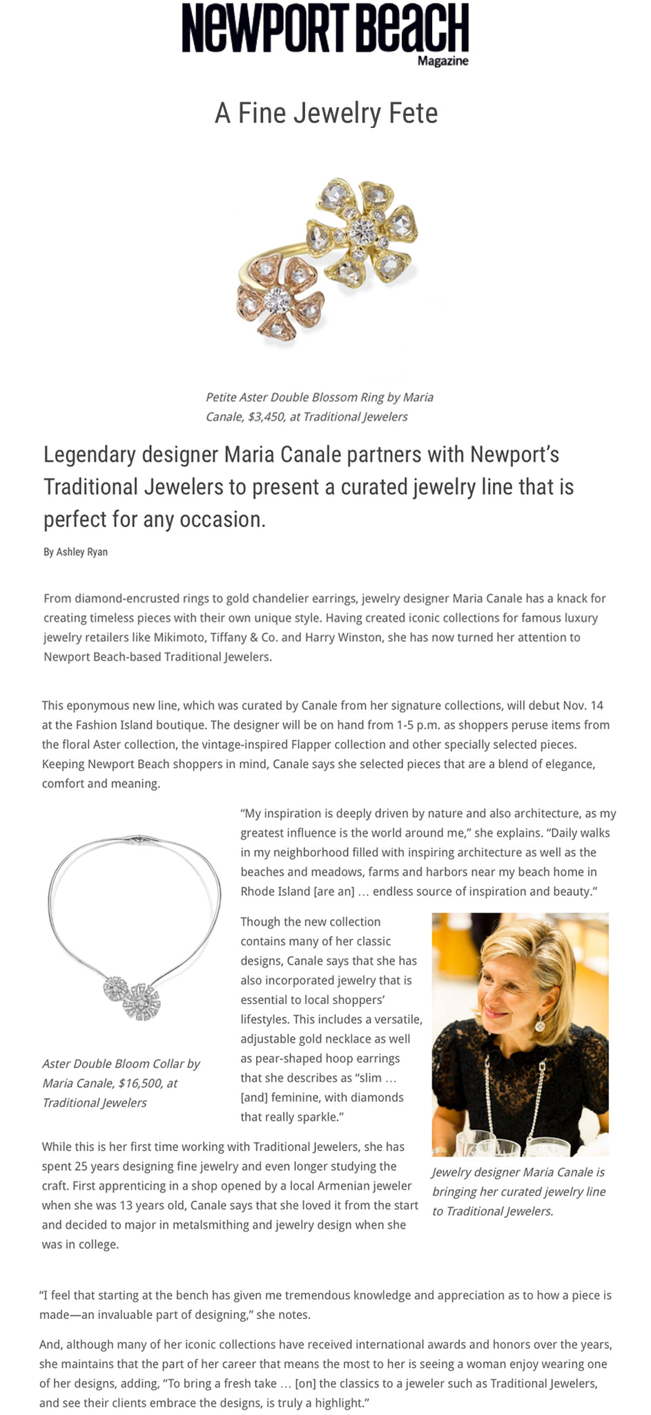 Maria Canale partners with Newport's Traditional Jewelers to present a curated jewelry line that is perfect for any occasion.